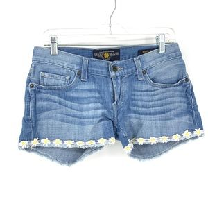 Lucky Brand Sz 0/25 Riley Jean Shorts Daisy Trim